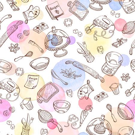 cake mixer: Baking doodle background.  Illustration