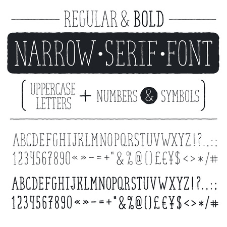 narrow: Hand drawn narrow alphabet.
