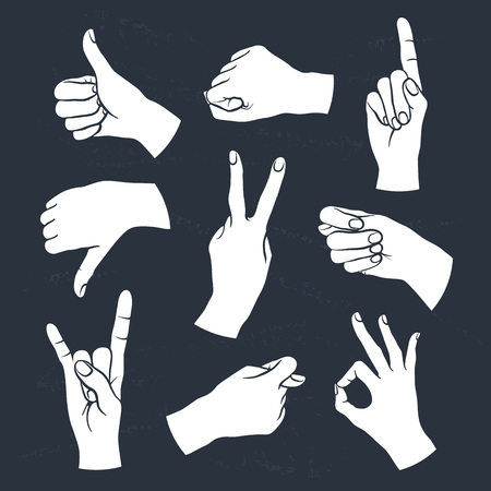 ok sign: Human gestures icons. Woman hand outline isolated white on black.