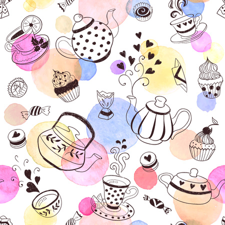 cup cakes: Tea time seamless pattern.