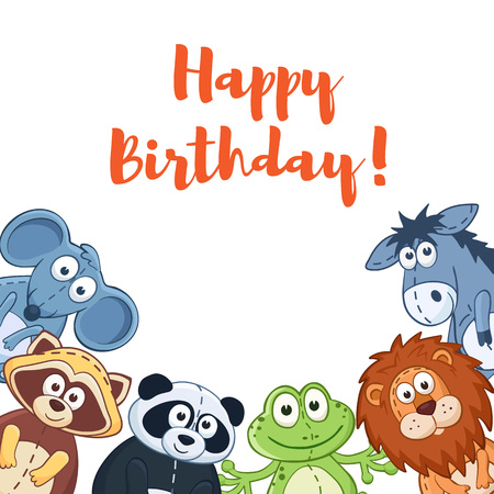 funny baby: Happy birthday card with cute cartoon animals isolated on white background.