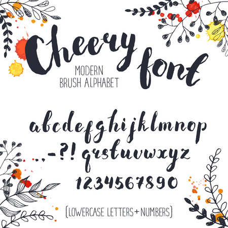 cheery: Handmade letters. Cheery handwritten alphabet with floral elements on background.