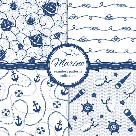 nautical pattern: Marine vector patterns set.
