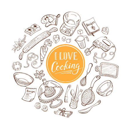 cakes and pastries: I love cooking poster concept.   Illustration