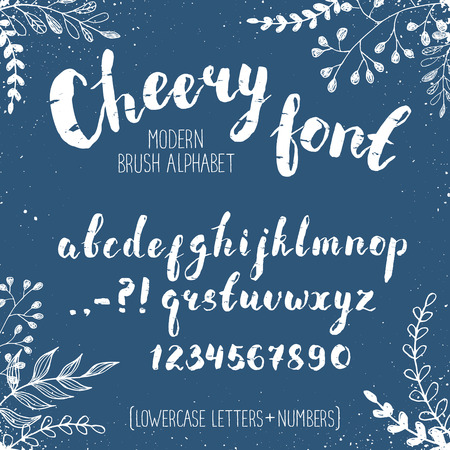 cheery: Handmade letters. Cheery handwritten alphabet with floral elements on blue background.