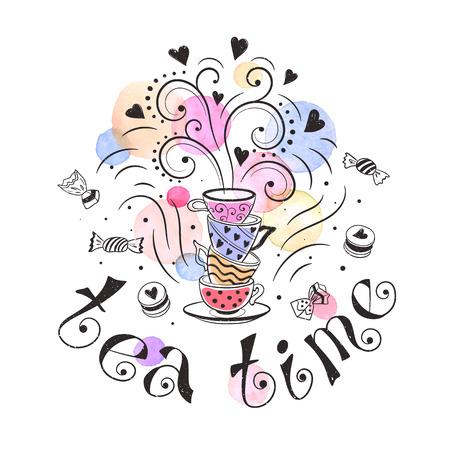 Tea time poster concept. Illustration