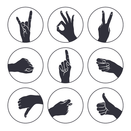 hand outline: Human gestures icons. Woman hand outline isolated on white background. People hand signs. Ok, thumb up, thumb down, fig, victory, pointing finger, sign of the horns.