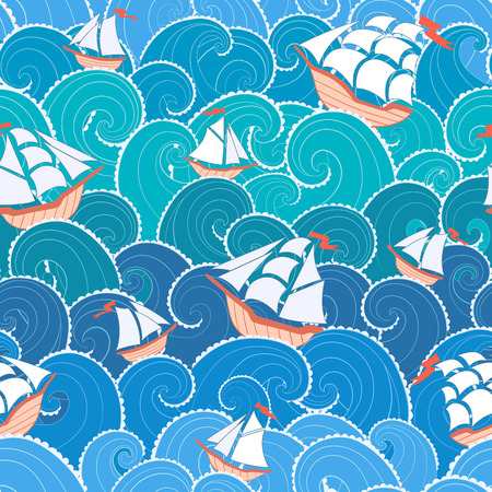 blue wind: Nautical seamless pattern. Ships and waves background.  Illustration
