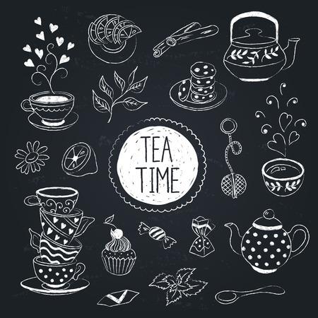 Doodle tea time elements collection.