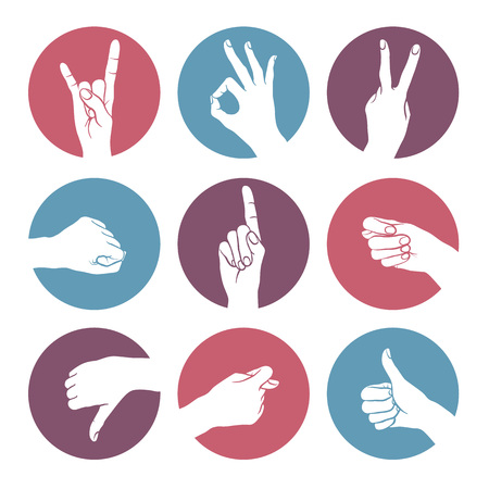 ok sign: Human gestures icons.