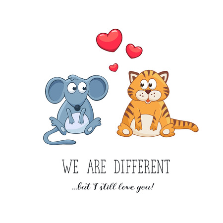 funny love: Cartoon animals with hearts. Valentines day. Funny greeting card. We are different but i still love you. Mouse and tiger in love.