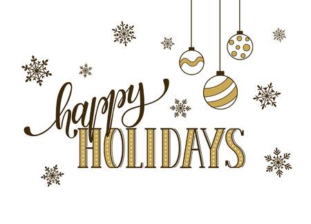 Bonnes vacances de modèle de carte postale. lettrage d'or moderne avec des flocons de neige isolé sur fond blanc. concept de carte de Noël. Banque d'images - 51230854