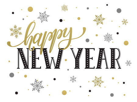 Happy New Year postcard template. Modern lettering with snowflakes isolated on white background. Christmas card concept.