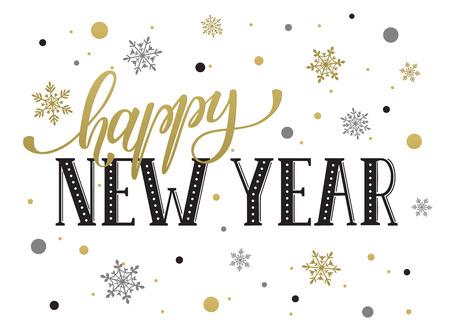 Heureux modèle de carte postale du Nouvel An. lettrage moderne avec des flocons de neige isolé sur fond blanc. concept de carte de Noël. Banque d'images - 51230855