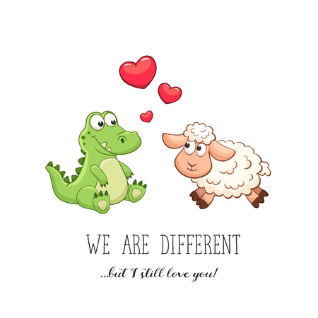 relationship love: Cartoon animals with hearts. Valentines day. Funny greeting card. We are different but i still love you. Crocodile and sheep in love. Illustration