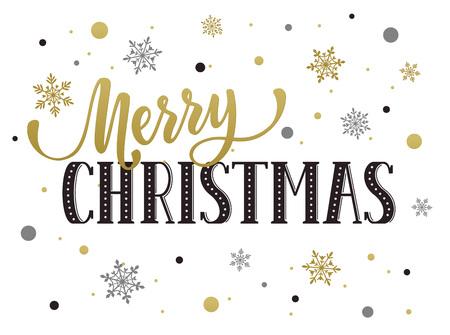Joyeux modèle de carte postale de Noël. lettrage moderne avec des flocons de neige isolé sur fond blanc. concept de carte de Noël. Banque d'images - 51230506