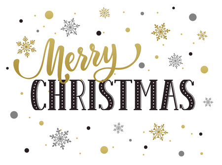 Merry Christmas postcard template. Modern  lettering with snowflakes isolated on white background. Christmas card concept.