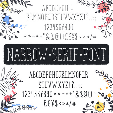 narrow: Hand drawn narrow alphabet. Uppercase tall and thin letters and symbols isolated on white background. Handdrawn typography. Narrow doodle font. Light and bold condensed type.