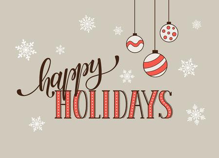 Bonnes vacances de modèle de carte postale. Moderne lettrage nouvelle année avec des flocons de neige isolé sur fond blanc. concept de carte de Noël. Banque d'images - 51230434