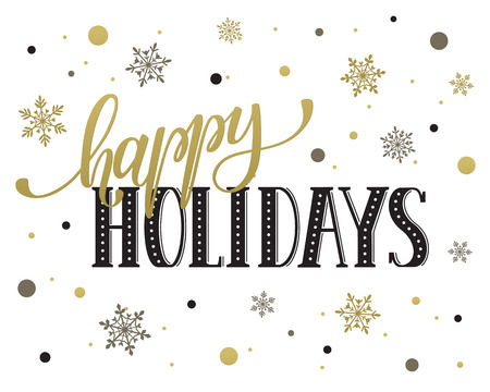 Happy holidays postcard template. Modern New Year lettering with snowflakes isolated on white background. Christmas card concept. Vectores