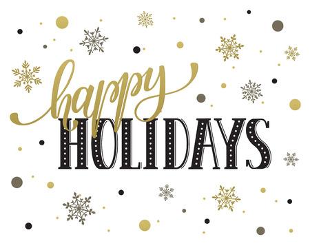 Felices fiestas plantilla tarjeta postal. letras moderna Año Nuevo con los copos de nieve aisladas sobre fondo blanco. Concepto de la tarjeta de Navidad. Foto de archivo - 51230552