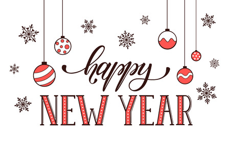Heureux modèle de carte postale du Nouvel An. lettrage moderne avec des flocons de neige isolé sur fond blanc. concept de carte de Noël. Banque d'images - 51230517