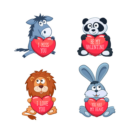 i miss you: Cartoon animals with hearts. Valentines day greeting card. I love you. I miss you. Be my Valentine. You are my Heart.
