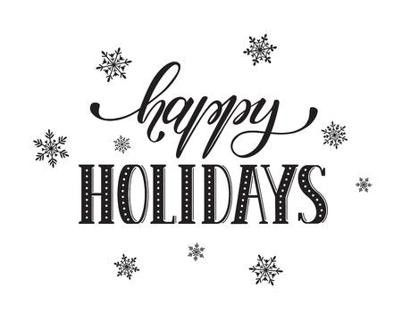 Frohe Feiertage Postkarte Vorlage. Moderne Neujahr Schriftzug mit Schneeflocken auf weißem Hintergrund. Weihnachtskarte Konzept.