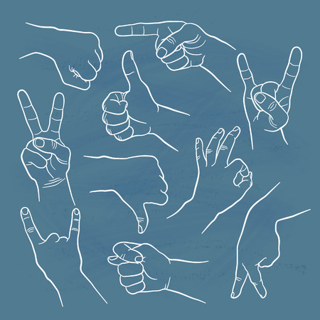 man pointing up: Human gestures icons. People hand signs. Man hands outline isolated on white background. Ok, thumb up, thumb down, fig, victory, pointing finger, sign of the horns.
