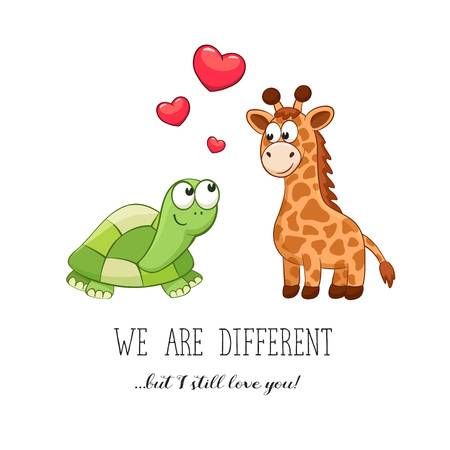 sweet couple: Cartoon animals with hearts. Valentines da. Funny greeting card. We are different but i still love you. Turtle and giraffe in love.