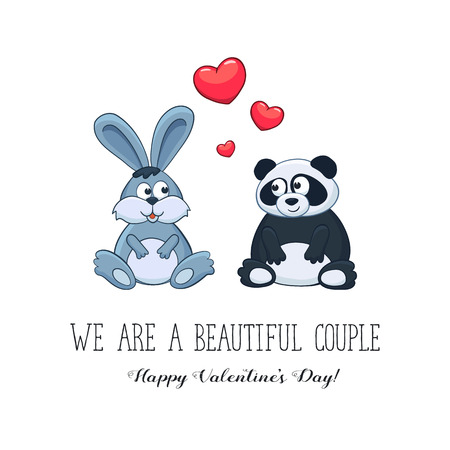funny love: Cartoon animals with hearts. We are a beautiful couple. Happy Valentines Day. Bunny and panda in love. Funny greeting card.
