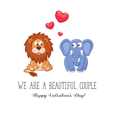 funny love: Cartoon animals with hearts. We are a beautiful couple. Happy Valentines Day. Funny greeting card. Lion and elephant in love.