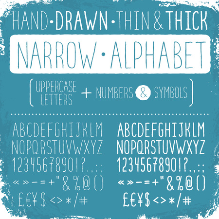 sans: Hand drawn narrow alphabet. Uppercase tall and thin letters and symbols. Handdrawn sans serif font. Narrow doodle font on blue background. Light and bold condensed type. Illustration