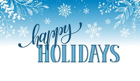 Fijne feestdagen briefkaartsjabloon. Modern New Year letters met sneeuw en takken op een blauwe achtergrond. Kerstkaart concept.