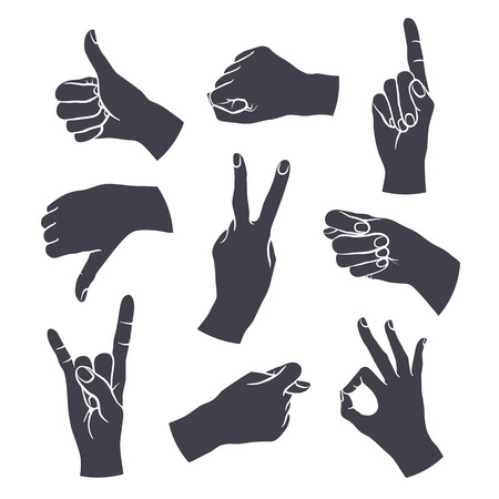 woman pointing up: Human gestures icons. Woman hand outline isolated on white background. People hand signs. Ok, thumb up, thumb down, fig, victory, pointing finger, sign of the horns.