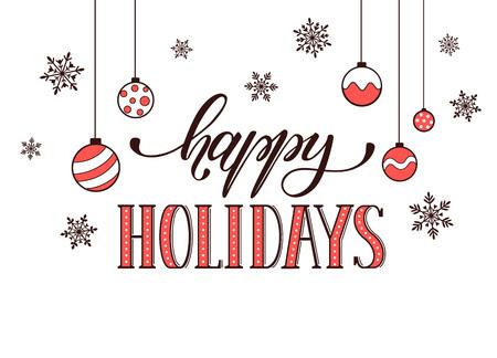 glücklich: Frohe Feiertage Postkarte Vorlage. Moderne Neujahr Schriftzug mit Schneeflocken auf weißem Hintergrund. Weihnachtskarte Konzept. Illustration
