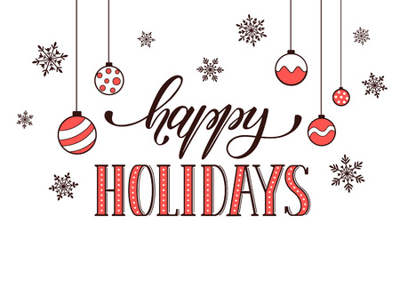 Happy Holidays Postcard Template. Modern New Year Lettering With ...