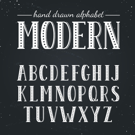 uppercase: Hand drawn alphabet. Uppercase letters and symbols on chalkboard. Handdrawn typography. Modern font.