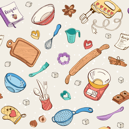 Baking doodle background. Vector seamless pattern with kitchen tools. Hand drawn baking utensils. Vettoriali