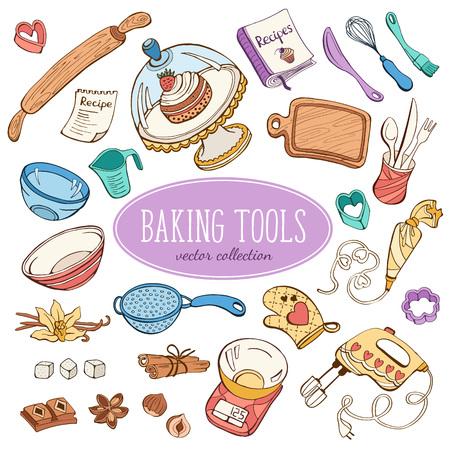 cartoon kitchen: El bicarbonato de recogida de artículos en el estilo de dibujo. Dibujado a mano utensilios de cocina conjunto en colores pastel.
