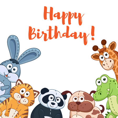 plush: Happy birthday card with cute cartoon animals isolated on white background.  Vector illustration of adorable plush baby animals.