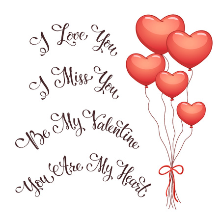 i miss you: Modern calligraphy for Valentines Day. I love you. I miss you.  Be my Valentine. You are my Heart. Hand drawn romantic pharses for greeting card.