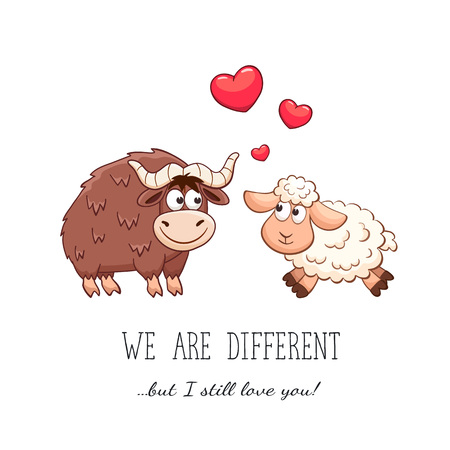 sheep love: Cartoon animals with hearts. Valentines day. Funny greeting card. We are different but i still love you. Bull and sheep in love. Illustration