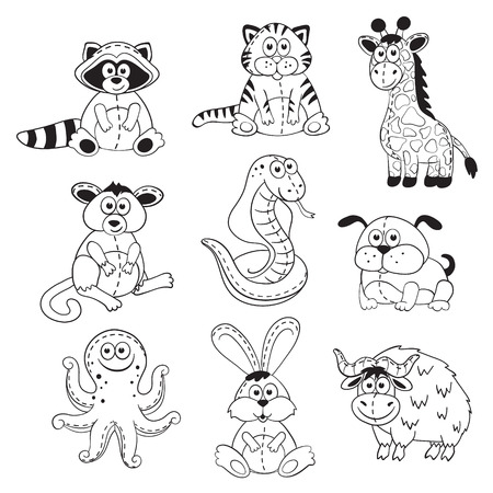 stuffed toys: Cute cartoon animals isolated on white background. Stuffed toys set. Cartoon animals outline collection. Illustration