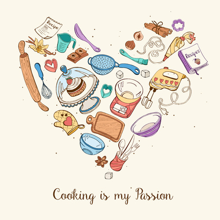 Cooking is my passion. Baking tools in heart shape. Recipe book background concept. Poster with hand drawn kitchen utensils. Vetores