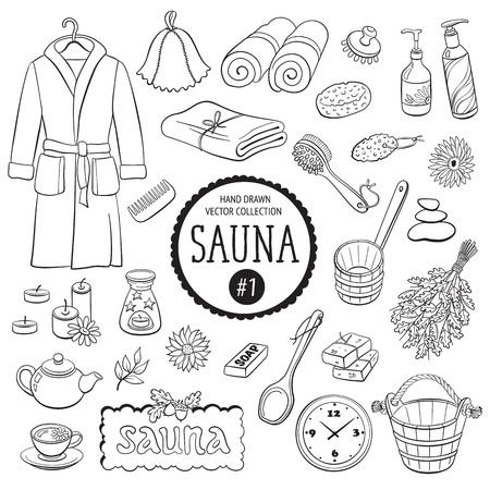 Accessoires de sauna croquis. Main collection d'éléments de spa dessiné. objets de salle de bains de griffonnage isolé sur fond blanc.