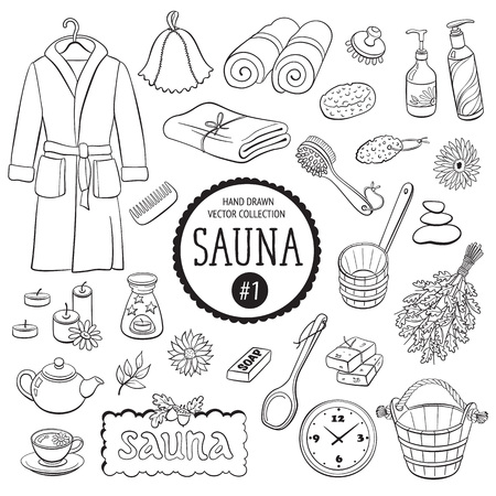 Sauna accessories sketch. Hand drawn spa items collection. Doodle bathroom objects isolated on white background.