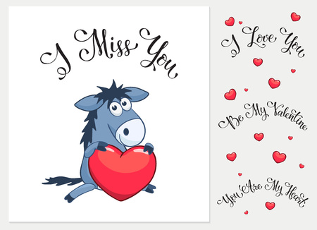 i miss you: Cartoon animals with hearts. I love you. I miss you.  Be my Valentine. You are my Heart. Funny greeting card.