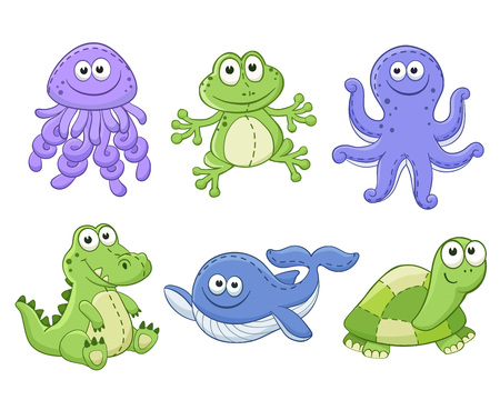 frog: Cute cartoon animals isolated on white background. Stuffed toys set. Vector illustration of adorable plush baby animals. Jellyfish, frog, octopus, crocodile, whale, turtle.