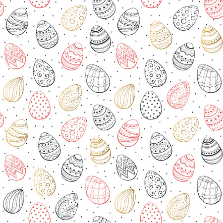 gold eggs: Easter background with eggs hand drawn black on white background. Decorative Esater eggs seamless pattern in red and gold colors. Easter eggs with ornaments in vintage style. Illustration